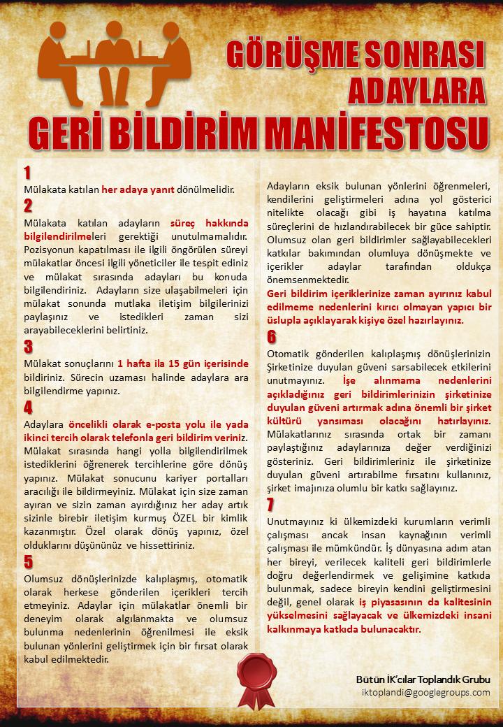 Görüşme Sonrası Adaylara Geri Bildirim Manifestosu